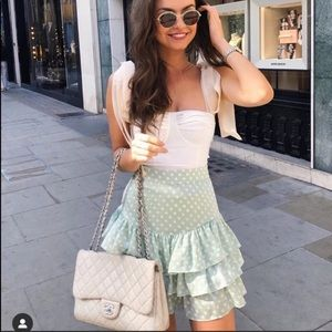 Zara Italy Mint Polka Dot Skirt